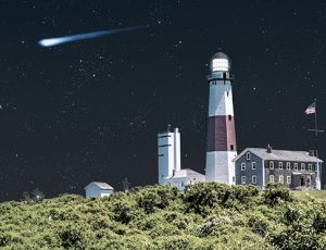 Lighthouse at night with shooting star